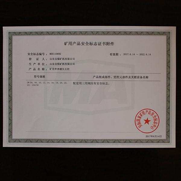 矿用产品安全标志证书附件  80 2